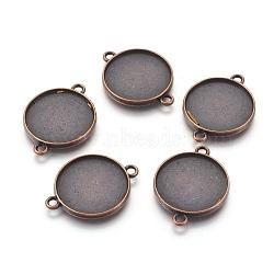 Настройки разъем сплава кабошон тибетском стиле, чашки безель с краем, свинца и никеля бесплатно, плоские круглые, красной меди, лоток: 20 мм; 29x22x2.5 мм, отверстия: 2 mm(X-TIBE-A124178-R-FF)