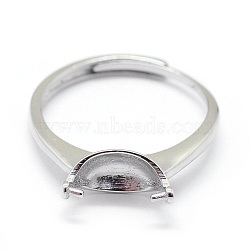 Adjustable Sterling Silver Ring Components, For Half Drilled Beads, Carved with 925, Platinum, Tray: 9x5.5mm; 17mm; Pin: 0.6mm(STER-I016-008P)