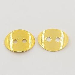 2 отверстия овальные медные кнопки застежками, золотые, шириной около 10 мм, 14 мм длиной, толщиной 1 мм , отверстие : 1 мм(X-KK-G080-G)