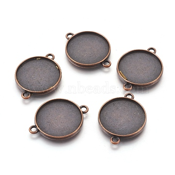 Tibetan Style Alloy Cabochon Connector Settings, Plain Edge Bezel Cups, Lead Free & Nickel Free, Flat Round, Red Copper, Tray: 20mm; 29x22x2.5mm, Hole: 2mm(X-TIBE-A124178-R-FF)