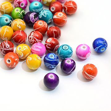 Spray Painted Drawbench Acrylic Round Beads, Mixed Color, 8mm, Hole: 2mm(X-ACRP-S657-8mm-M)