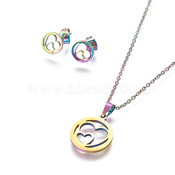 304 Stainless Steel Jewelry Sets, Stud Earring and Pendant Necklaces, Flat Round with Heart, Rainbow, Multi-color, 17.7 inches~18.1 inches(45~46cm); 9mm; Pin: 0.8mm(X-SJEW-L141-089M)