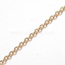 304 chaînes de câbles en acier inoxydable, soudé, avec bobine, pour la fabrication de bijoux, or, 2.5x2x0.5 mm; sur 10 m / rouleau(CHS-H007-55G)