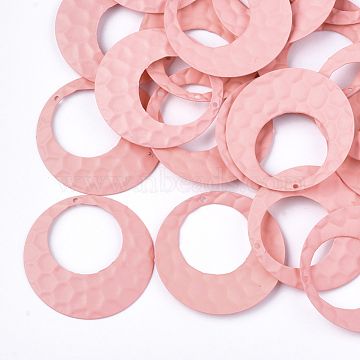 Spray Painted Iron Pendants, Ring, LightCoral, 35x2mm, Hole: 1mm(X-IFIN-S704-06B)