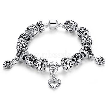 Brass European Bracelets, with Antique Silver Alloy Beads, Antique Silver, 170mm(BJEW-FF0002-16-17cm)