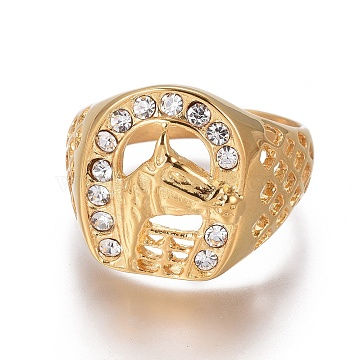 Vacuum Plating 304 Stainless Steel Finger Rings, with Rhinestone, Horseshoe with Horse, Golden, Size 8~13, 18~22mm(RJEW-E162-15G)