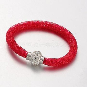 Plastic Mesh Bracelets, with Acrylic Rhinestone and Polymer Clay Rhinestone Magnetic Clasps, Platinum, Red, 210x8mm(X-BJEW-N229-06)