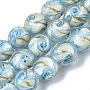Handmade Gold Sand Lampwork Beads Strands, Round, Cyan, 11.5~12.5x11~12mm, Hole: 1.2mm; about 45pcs/Strand, 20.08''