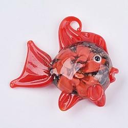Gros pendentifs vernissées manuels, poisson avec fleur, rouge, 49~55x45~50x16~18mm, Trou: 4~5mm(LAMP-G132-B04)
