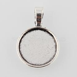alliage de style tibétain paramètres cabochon pendentif rond et plat, cuvettes à bord droit, argent antique, plateau: 18 mm; 31x21x2 mm, trou: 3.5x6 mm(X-TIBEP-M022-13AS)