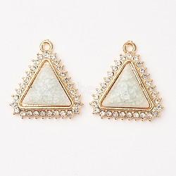 Alliage de triangle pendentifs en porcelaine, avec des strass, or clair, AliceBlue, 33x31x6mm, Trou: 2.5mm(PALLOY-L184-01KCG)