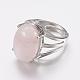 Anneaux de doigt à large bande de quartz rose naturel(X-RJEW-K224-A12)-1