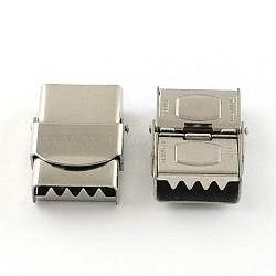 Surface lisse fermoirs de bande de montre 201 en acier inoxydable, couleur inoxydable, 25x17x7mm, Trou: 14x3mm(STAS-R063-80)