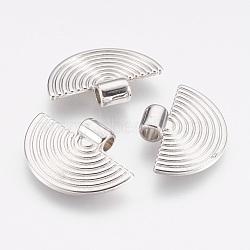 Пластмассовые подвески ccb, полукруг, платина, 17.5x24.5x5 мм, отверстие : 3 мм(CCB-P007-018)