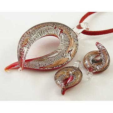 Silver/Gold Sand Foil Glass Pendants set, pendant:36~38mm wide, 60~66mm longmm(X-SLSP122Y-1)