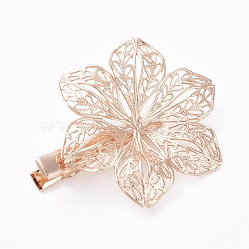 Hair Accessories Iron Alligator Hair Clip Findings, with Brass Filigree Flower Cabochon Bezel Settings, Long-Lasting Plated, Light Gold, Tray: 12mm; 48x10mm; Flower: 40mm(IFIN-L035-03KCG)