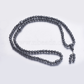 Non-magnetic Synthetic Hematite Mala Beads Necklaces,  Buddhist Necklaces, Buddha, 33 inches(84cm)(NJEW-K096-04)