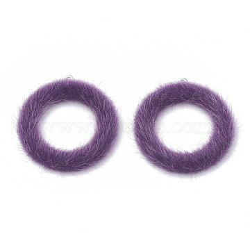 Faux Mink Fur Covered Pendants, with Aluminum Bottom, Ring, Platinum, Purple, 40x36x4mm, Hole: 1mm(X-WOVE-N009-10F)