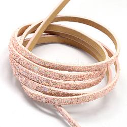 Cordons en similicuir avec perles de paillette, rose, 5x2 mm; environ 1.2 m / brin(X-LC-R010-13P)