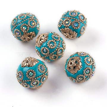 Handmade Indonesia Beads, with Metal Findings, Light Gold Color Plated, Round, Dark Turquoise, 20~21x19~20mm, Hole: 1.5mm(IPDL-P003-17F)