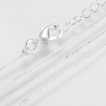 Brass Box Chains Necklace Making, with Lobster Clasps, Silver Color Plated, 15.7 inches(40cm); 0.6mm(X-MAK-R014-S)