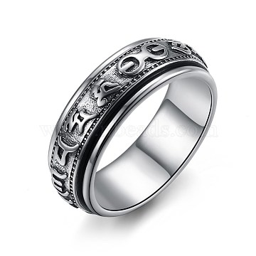 New Fashion Thai 925 Sterling Silver Rings, Om Mani Padme Hum, Antique Silver, Size 9, 18.9mm(RJEW-BB33707-9)