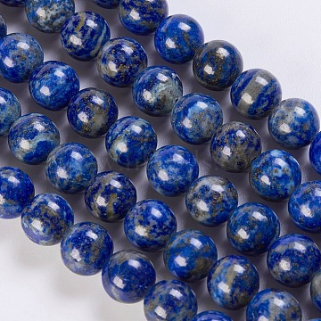 Natural Lapis Lazuli Beads Strands, Round, 10mm, Hole: 1mm; about 39pcs/strand, 15.5 inches(G-K254-01-10mm)