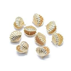 Pendentifs en laiton, pour la moitié de perles percées, avec micro ouvrent la zircone cubique, Plaqué longue durée, coquille, véritable 14k plaqué or, 11x12x9mm, trou: 0.8 mm; broches: 0.5 mm(KK-F797-46G)