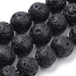 lave naturelle brins de perles, teints, arrondir, 6 mm, trou: 1 mm; environ 70 perle / brin, 15.7(X-G-S259-11-6mm)