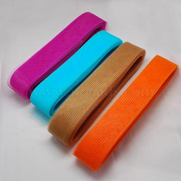 Mesh Ribbon, Plastic Net Thread Cord, Mixed Color, 45mm, 22yards/bundle(PNT-Q008-45mm-M)