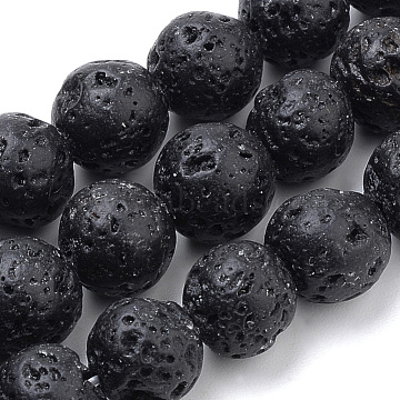 Natural Lava Rock Beads Strands, Dyed, Round, 6mm, Hole: 1mm; about 70pcs/strand, 15.7 inches(X-G-S259-11-6mm)