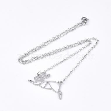 201 Stainless Steel Bunny Pendant Necklaces(NJEW-T009-JN027-1-40)-2