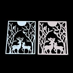 Le rectangle avec le renne de Noël / cadre de stern de découpage en acier au carbone meurt des pochoirs, pour bricolage scrapbooking / album photo, carte de papier de bricolage décoratif, mat platine, 12.7x9.5 cm(DIY-F032-02)