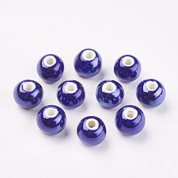 Perles Darkblue rondes à la main en porcelaine, 12mm, Trou: 2mm(X-PORC-D001-12mm-14)