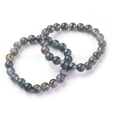 Natural Moss Agate Beads Stretch Bracelets, Round, 2 inches~2-1/8 inches(5.2~5.5cm); Beads: 8~9mm(X-BJEW-F380-01-B15)