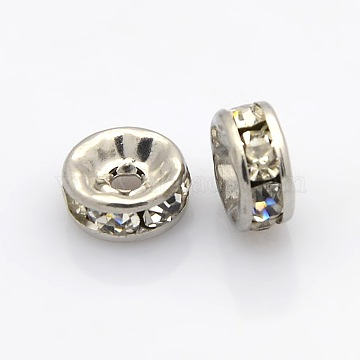 Rondelle 316 Surgical Stainless Steel Spacer Beads, with Rhinestone, Stainless Steel Color, 8x4mm, Hole: 2mm(X-STAS-N032-04P)
