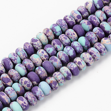 Natural Regalite/Imperial Jasper/Sea Sediment Jasper Beads Strands, Frosted, Dyed & Heated, Rondelle, Dark Violet, 8x5~6mm, Hole: 1mm; about 71~73pcs/strand, 14.56 inches(37~38cm)(X-G-S367-001B-005)