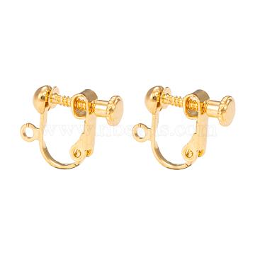 Brass Screw On Clip-on Earring Findings, Spiral Ear Clip, For Non-Pierced Ears, Golden, 18x14x3mm, Hole: 1.6mm(X-KK-L164-01G)
