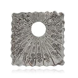 Tibétain alliage rectangle de style gros pendentifs, argent antique, 57x55x1mm, Trou: 5mm(PALLOY-J577-23AS)