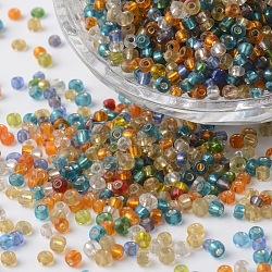 8/0 argent doublé verre rond perles de rocaille, couleur mixte, 2.5~3.5x2~2.5mm, trou: 0.8~1 mm; environ 1300 PCs / sachet (SEED-P002-11)