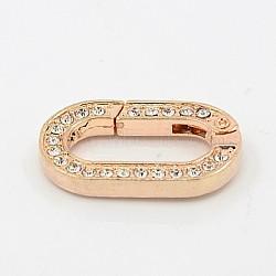 alliage strass printemps porte anneaux, anneaux ovales, or rose, 29x17.5x4 mm; diamètre intérieur: 20x9 mm(ALRI-K004-RG)