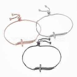 """Bracelets réglables en laiton avec zircone cubique à micro-pavé, bracelets bolo, croix, couleur mixte, 10-1/4"""" (260 mm); 1.2mm(BJEW-E317-43)"""