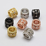 Brass Micro Pave Cubic Zirconia Beads, Column, Lead Free & Nickel Free, Mixed Color, 11x9mm, Hole: 7mm