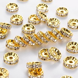 Brass Rhinestone Spacer Beads, Grade A, Straight Flange, Golden Metal Color, Rondelle, Crystal, 10x4mm, Hole: 2mm(RB-A014-Z10mm-01G)