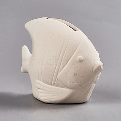 Cadeau créatif de gypse, enfants bricolage peint tirelire embryon blanc, poisson, blanc antique, 9.45x5.05x7.4 cm(DIY-WH0093-05)