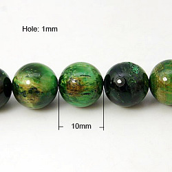 Natural Green Tiger Eye Beads Strands, Dyed & Heated, Round, Green, 10mm, Hole: 1mm
