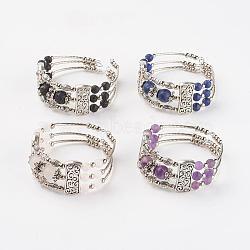 """Trois boucles de bracelets d'emballage en alliage de style tibétain, avec des perles naturelles de pierres précieuses, 2"""" (50 mm)(BJEW-JB03324)"""