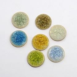 Плоские круглые ручной работы хрустят фарфоровые кабошоны, красочный, 30x5 мм(X-PORC-P003-M-1)