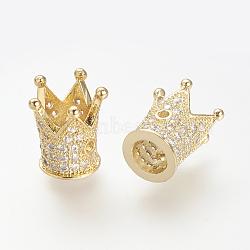 Perles de zircone cubique micro pave en Laiton, couronne, or, 12x10mm, Trou: 1~5mm(ZIRC-S053-YS009-2)