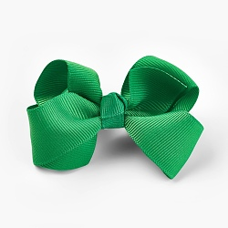 Grosgrain Bowknot Alligator Hair Clips, with Iron Alligator Clips, Green, 40~50x70~82x25~30mm(PHAR-WH0002-A04)